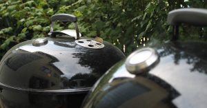 Two kettle barbecues