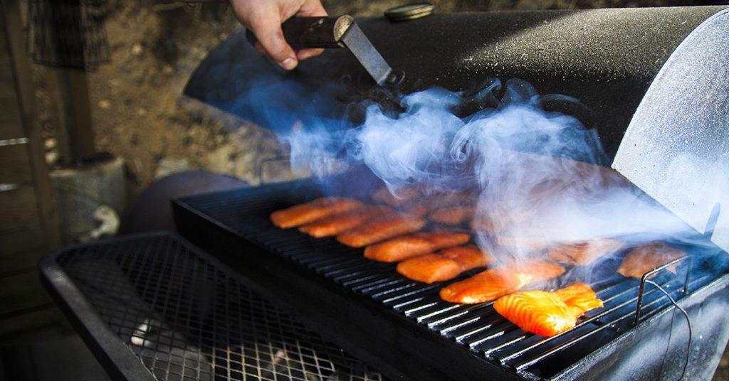 smoking salmon