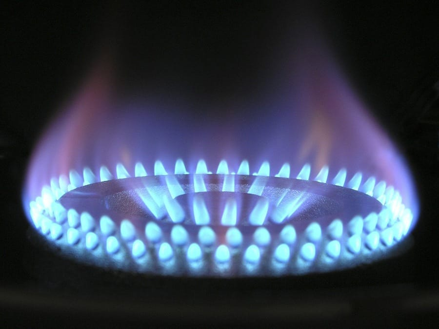 A close up picture of a gas burner