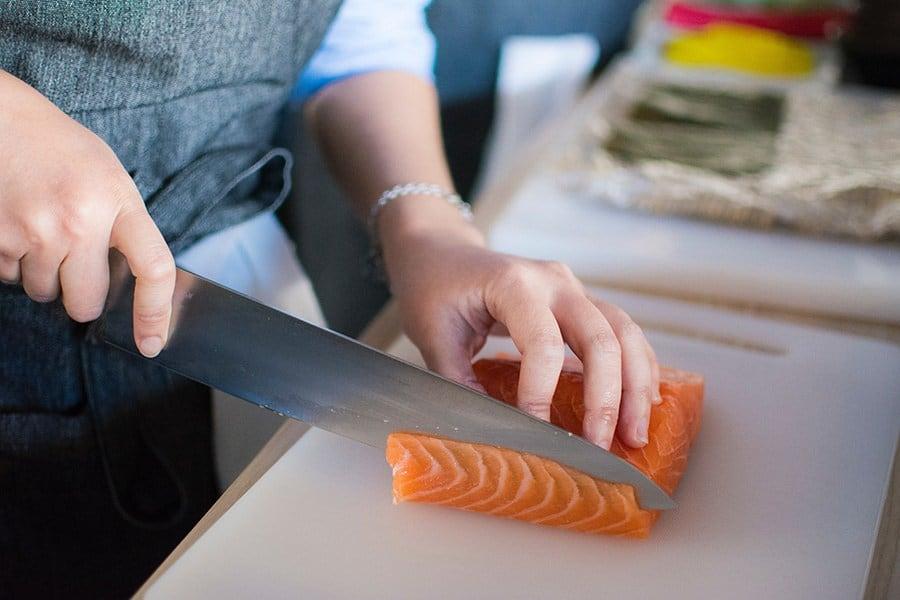 Making sushi with Salmon