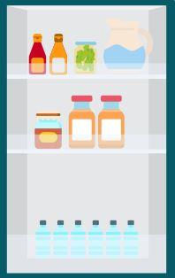 Liquids and sauces go in the fridge door